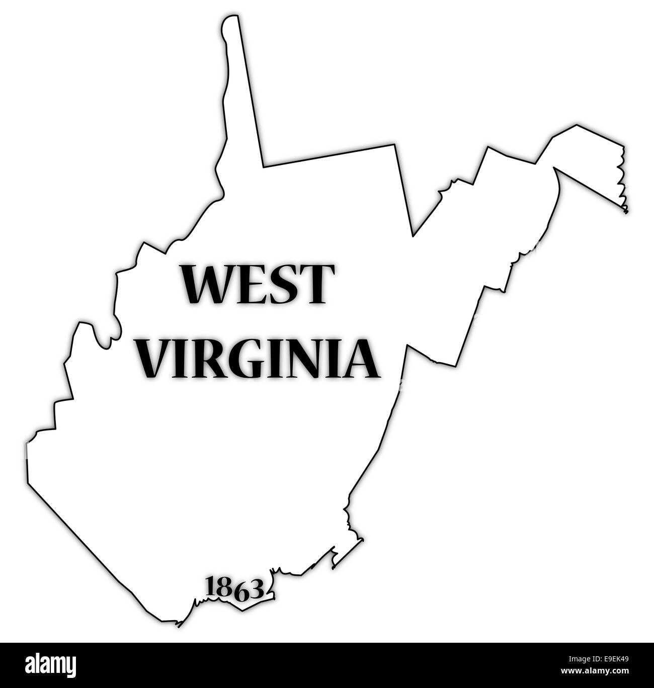 A West Virginia state outline with the date of statehood isolated