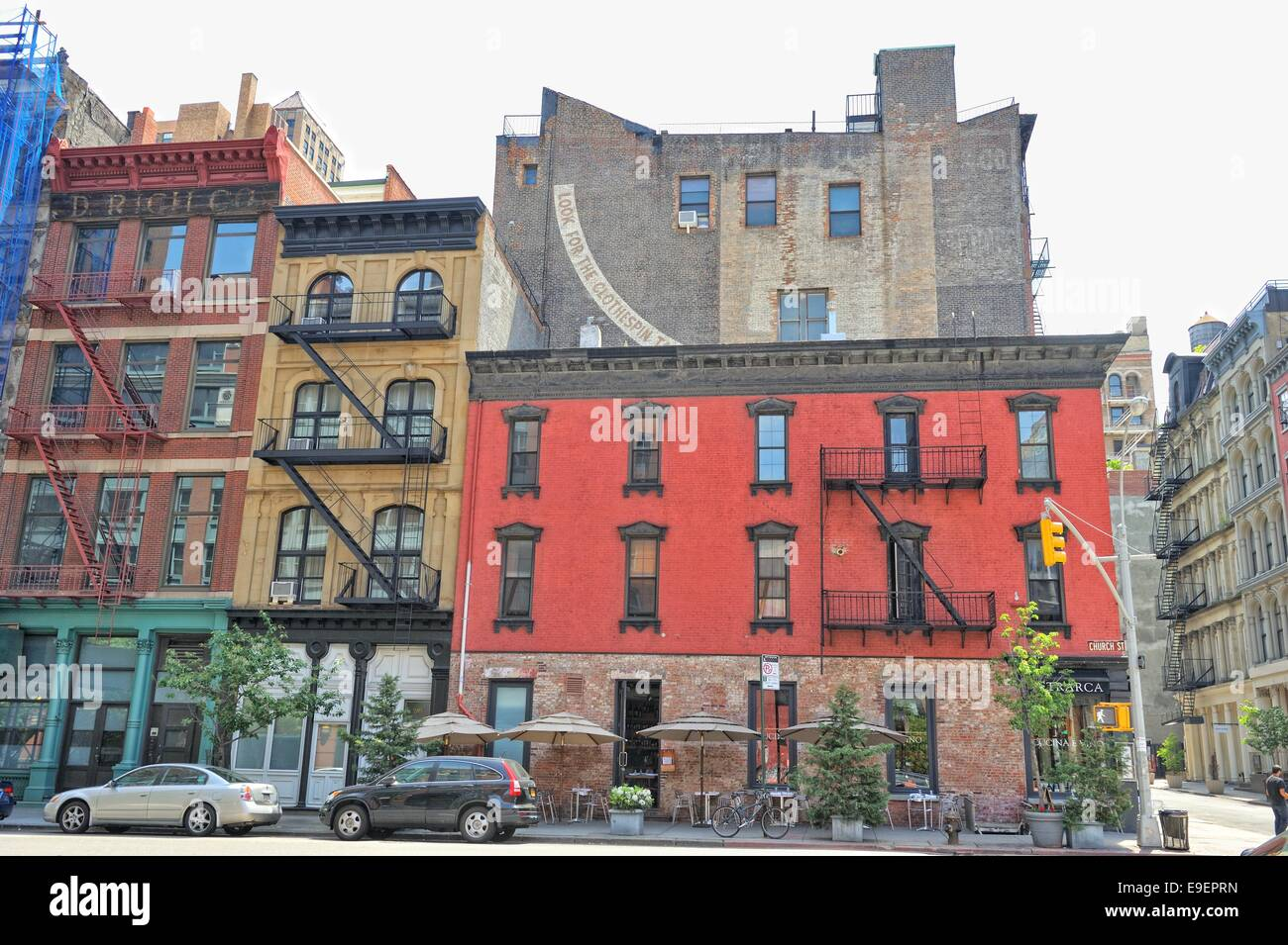 The red brick building the street view in New York city Stock