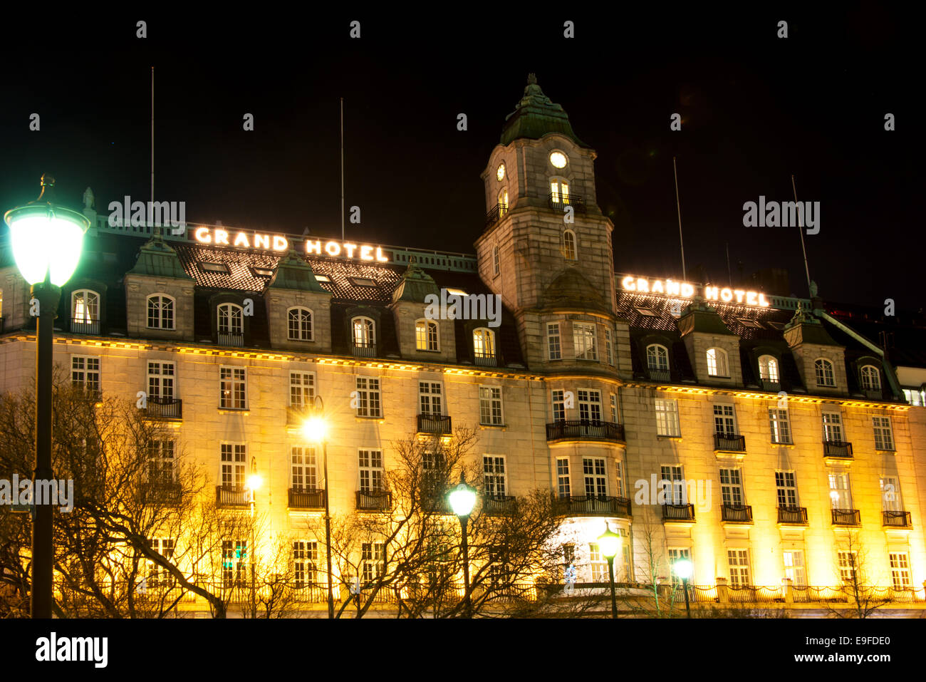 grand hotel in oslo norway at winter night stock photo. Black Bedroom Furniture Sets. Home Design Ideas