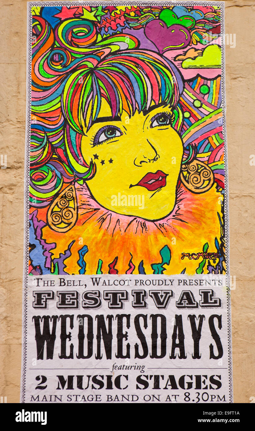 Poster design 60s - Uk England Wiltshire Bath Walcot Street 60s Style Psychedlic Music Poster Design For Bell Inn