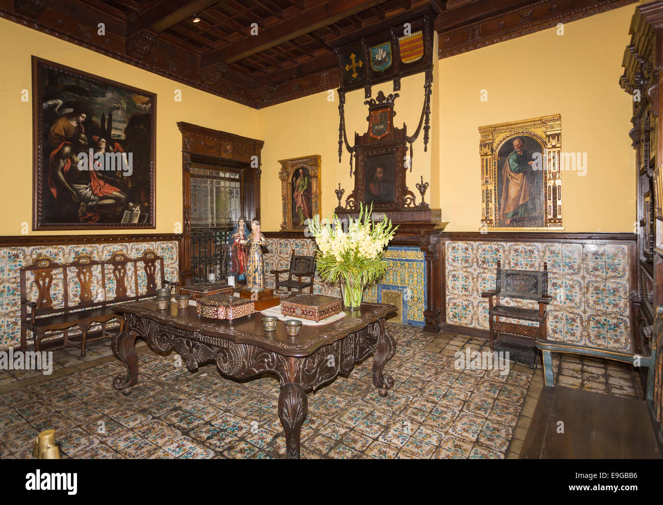 Room With Wooden Table And Paintings In The Historic Colonial House, Casa  Solariega De Aliaga, Lima, Peru