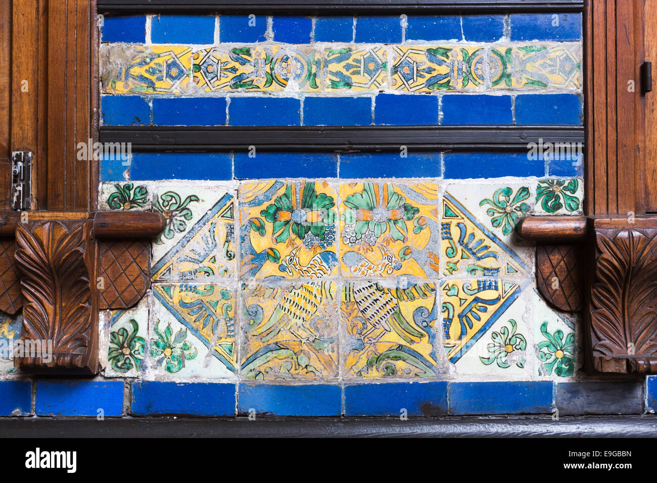 Colourful blue and yellow antique ceramic tiles at the historic colourful blue and yellow antique ceramic tiles at the historic colonial house casa solariega de aliaga lima peru dailygadgetfo Choice Image