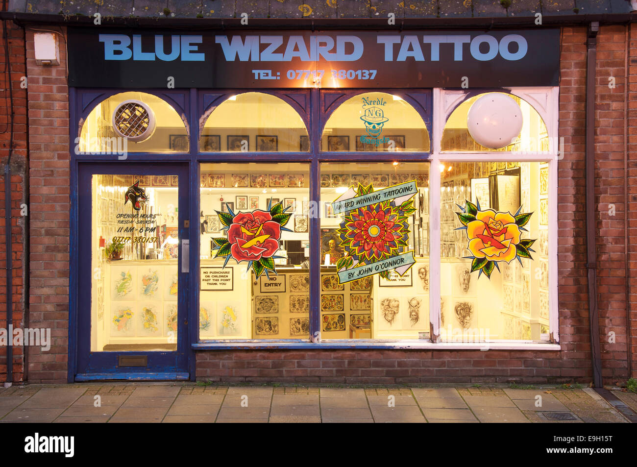 high street tattooing the new shop front of the blue wizard