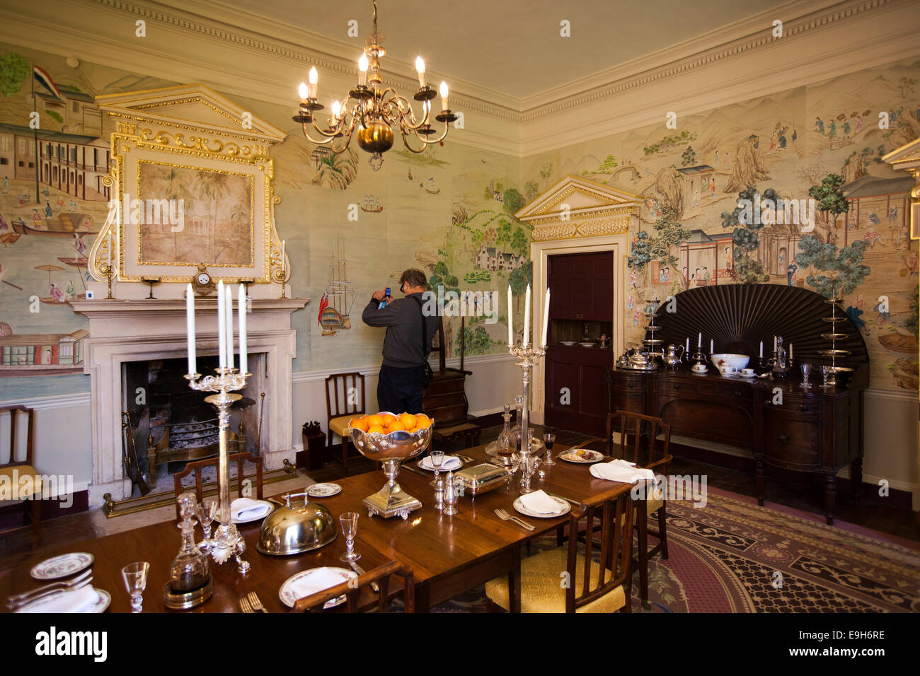 Dining Room Wallpaper Uk Part - 19: UK, England, Wiltshire, Avebury Manor, Governor Of Jamaica Dining Room,  With Fromental Hand Painted Wallpaper