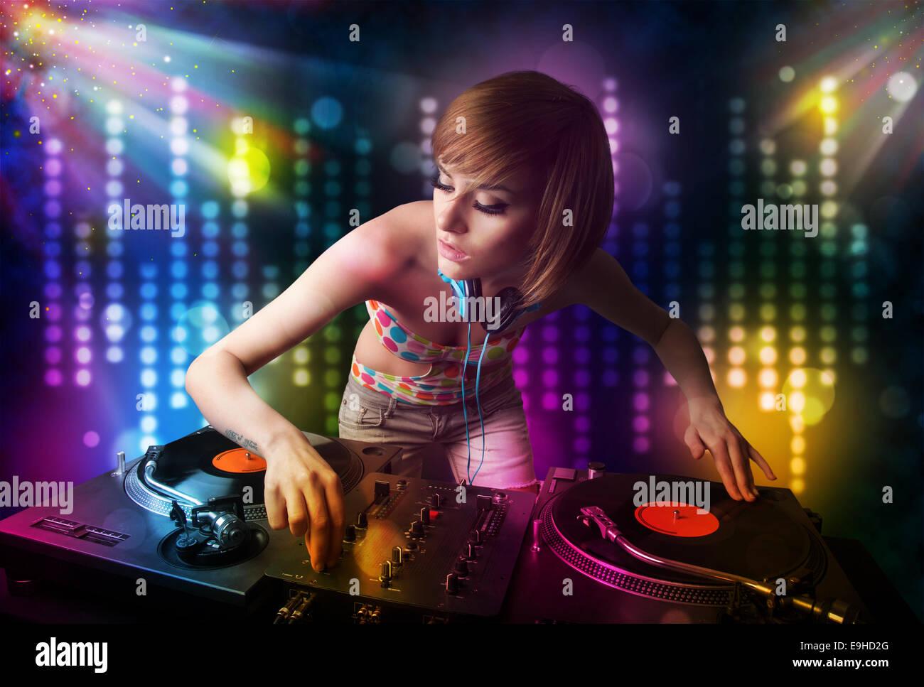 Headphones Brunette girl DJ deejay Girls Music 2560x1700