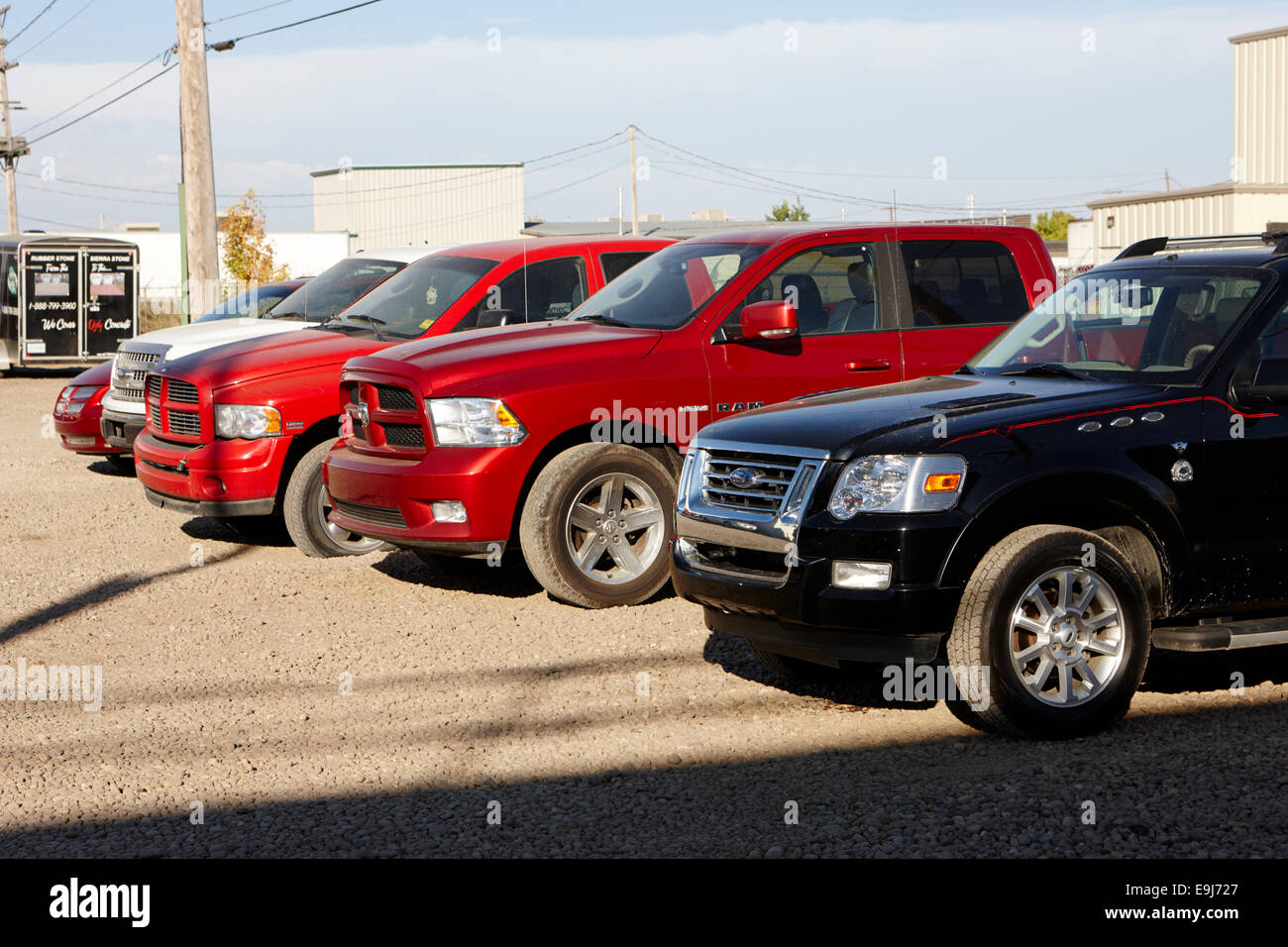trucks on a used car lot Saskatchewan Canada Stock Photo, Royalty ...