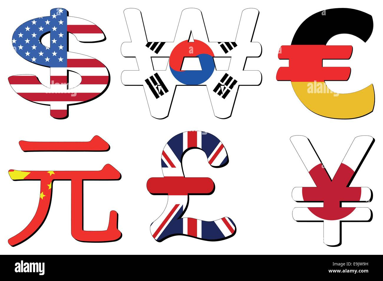 American dollar korean won german euros chinese yuan british american dollar korean won german euros chinese yuan british pounds and japanese yen flag symbols vector illustration biocorpaavc Choice Image