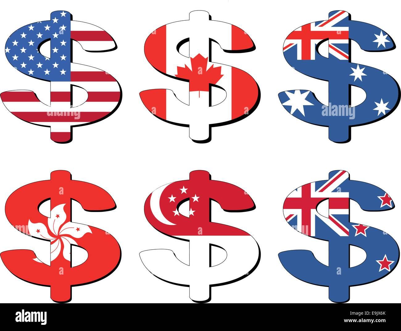 American canadian australian hong kong singapore new zealand american canadian australian hong kong singapore new zealand dollar symbol vector illustration biocorpaavc