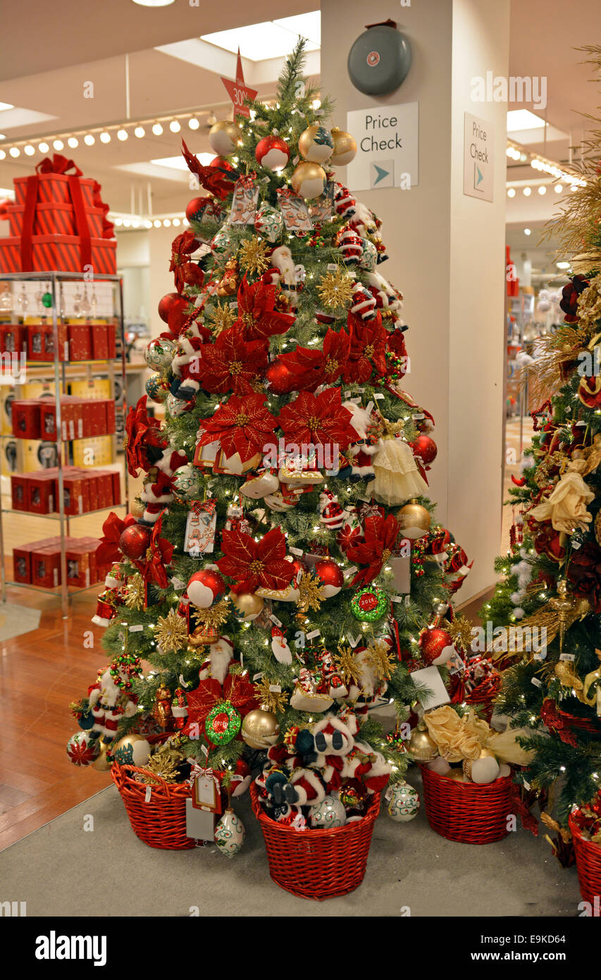 Christmas tree ornaments for sale at Macy's department store in ...