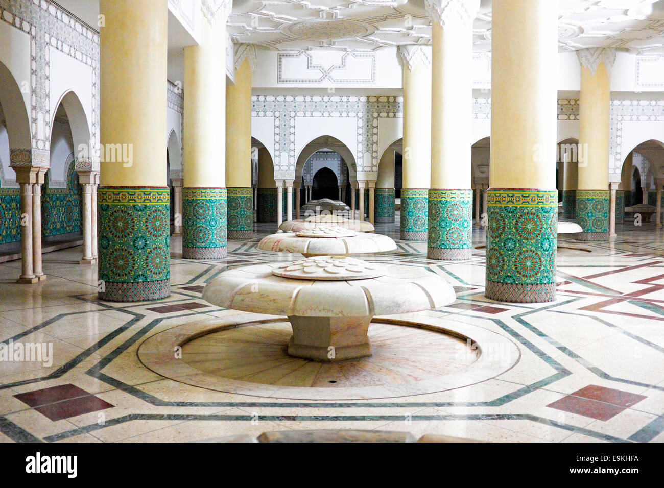 Nice Interior Arches And Mosaic Tile Work Of Hammam Turkish Bath In Hassan II  Mosque In Casablanca, Morocco.