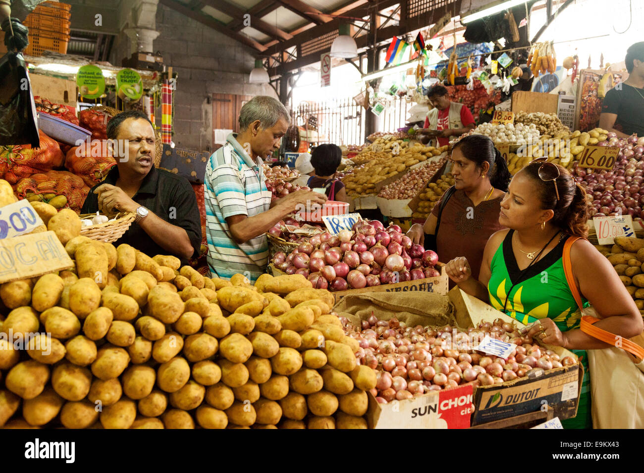 Local people shopping at the indoor food market port louis stock photo royalty free image - Mauritius market port louis ...