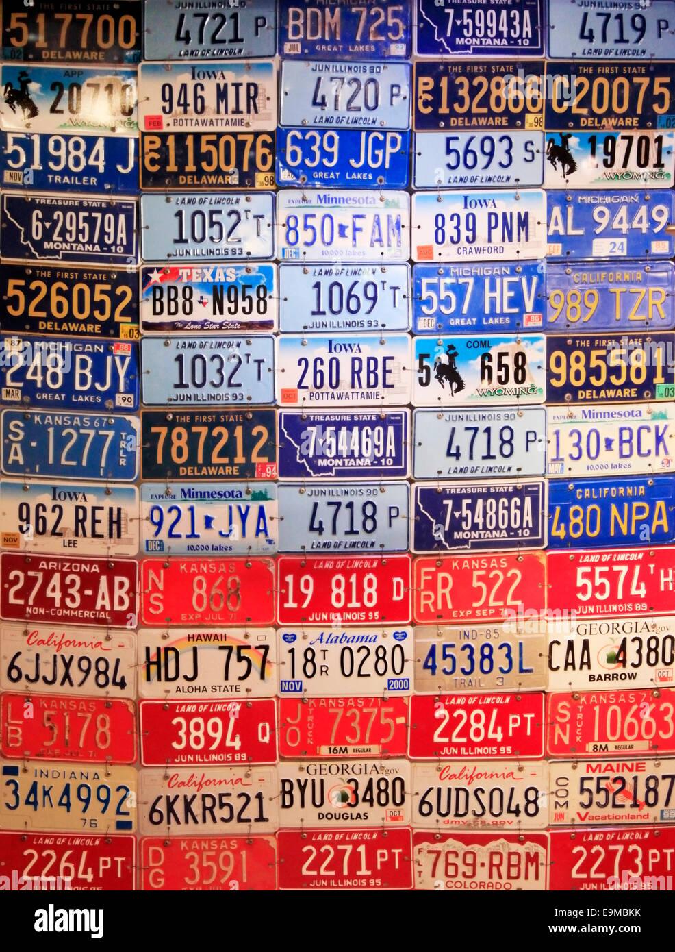 NEW YORK CITY, NY, USA - MAY 19: Various old American license ...