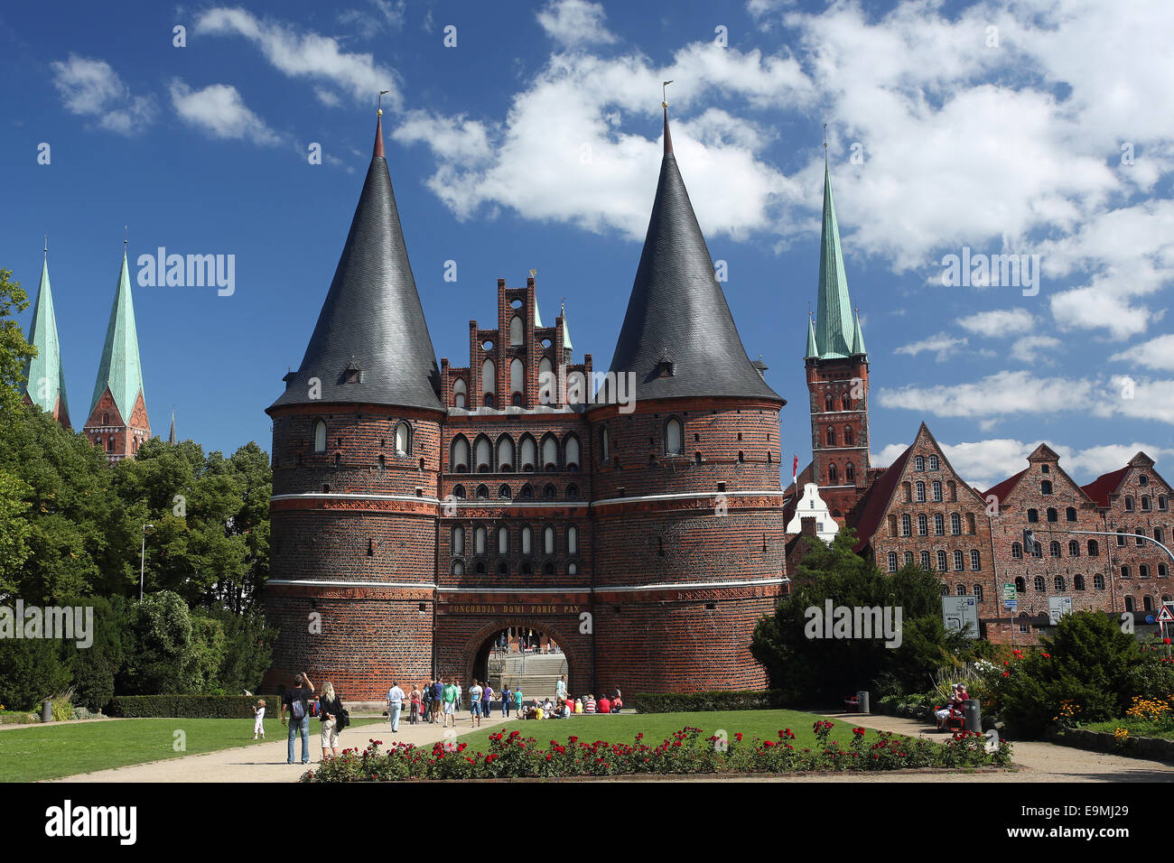 the holstein gate holstentor lubeck summer schleswig holstein germany stock photo royalty free. Black Bedroom Furniture Sets. Home Design Ideas
