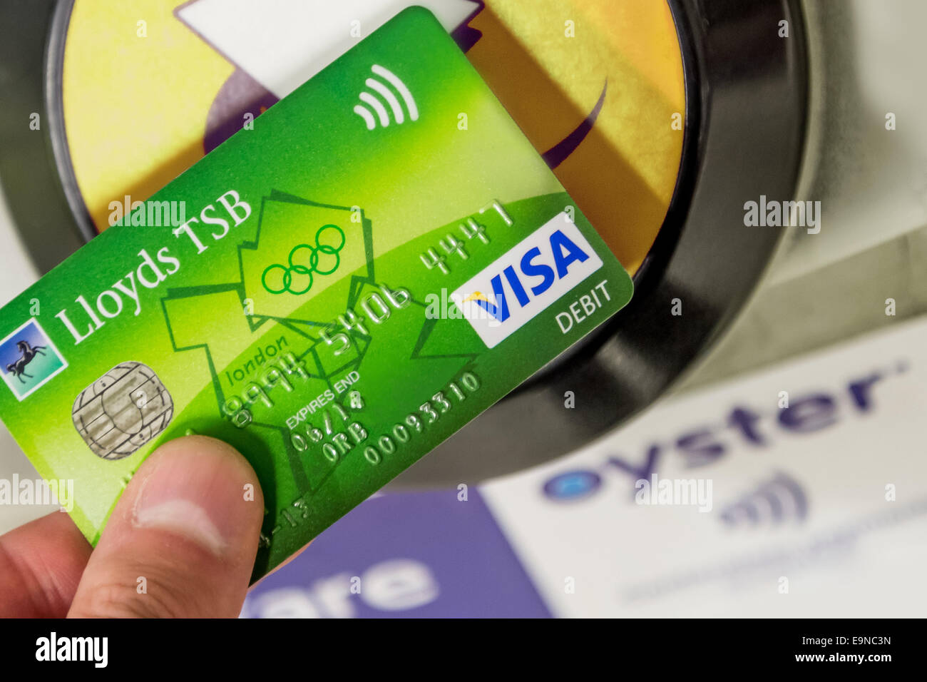 Lloyds tsb visa card stock photos lloyds tsb visa card stock contactless lloyds tsb visa card being used for travel payment at london underground station magicingreecefo Image collections