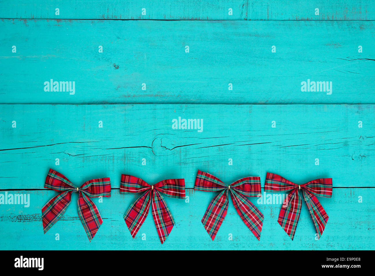 Blank Antique Teal Blue Weathered Wood Background With Red