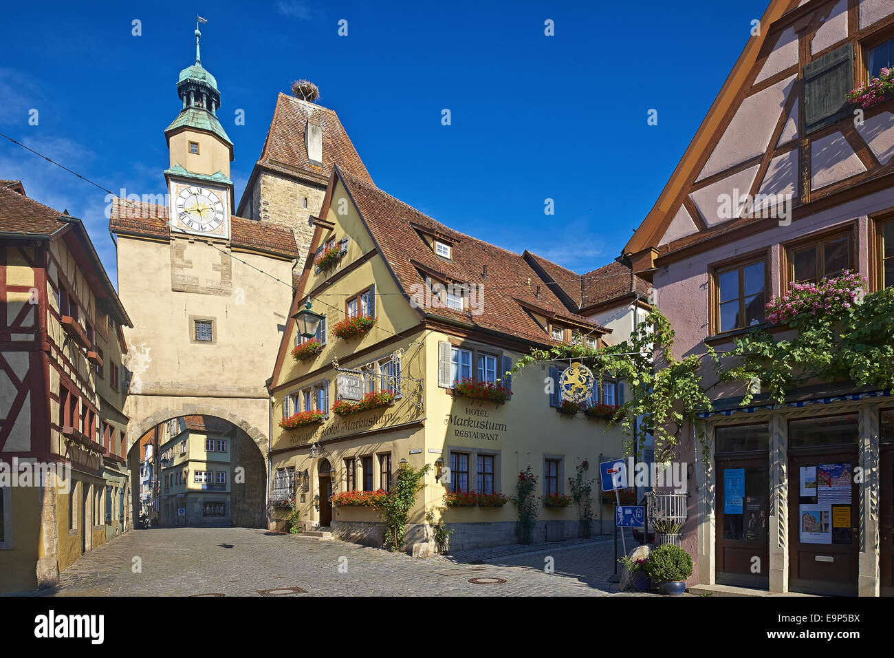 markus tower and roeder arch rothenburg ob der tauber bavaria stock photo royalty free image. Black Bedroom Furniture Sets. Home Design Ideas