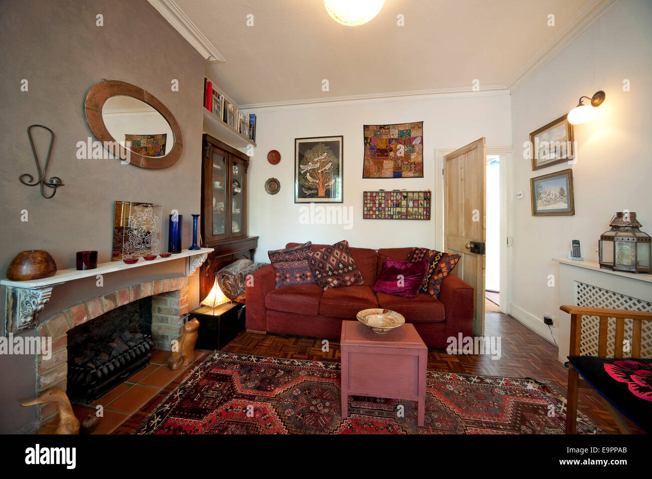 Living room in renovated terraced house, Kingston upon Thames ...