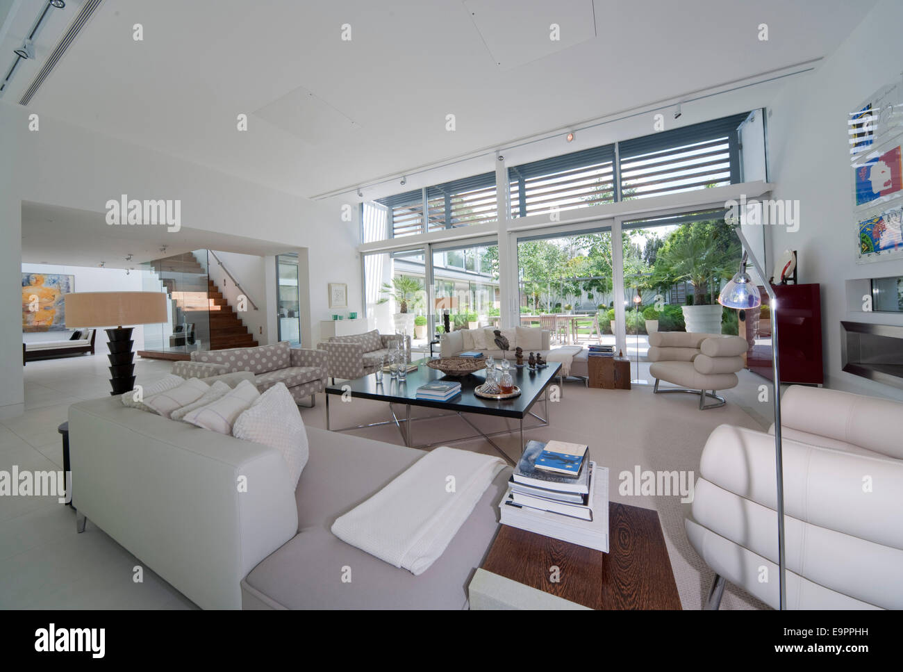 Open plan living room in the Glass House Petersham Middlesex