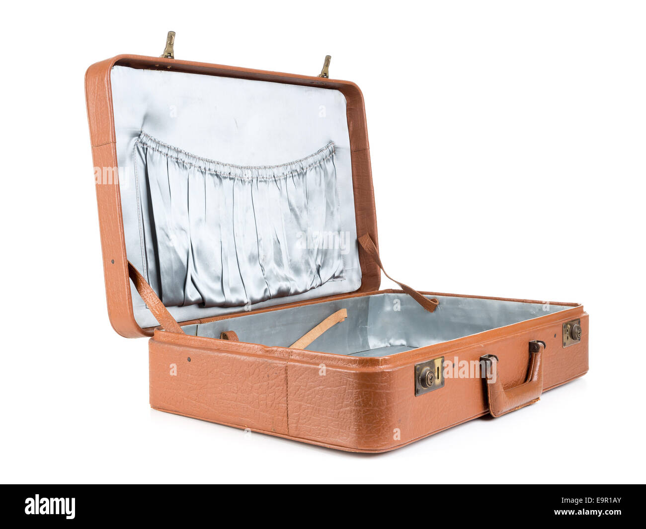 Open classic leather suitcase shot on white background Stock Photo ...
