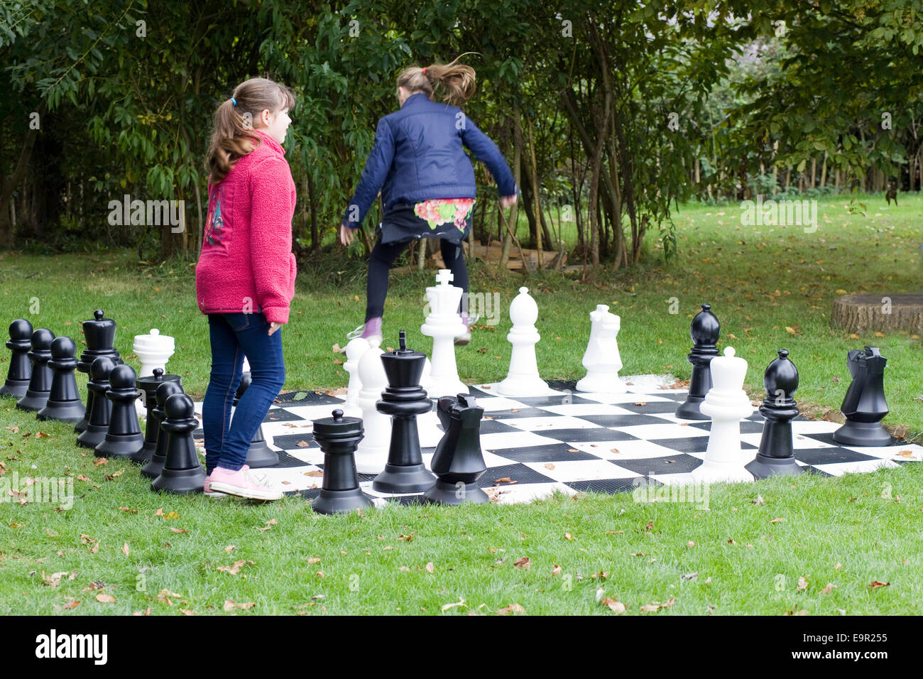 Children Playing On A Giant Garden Chess Set