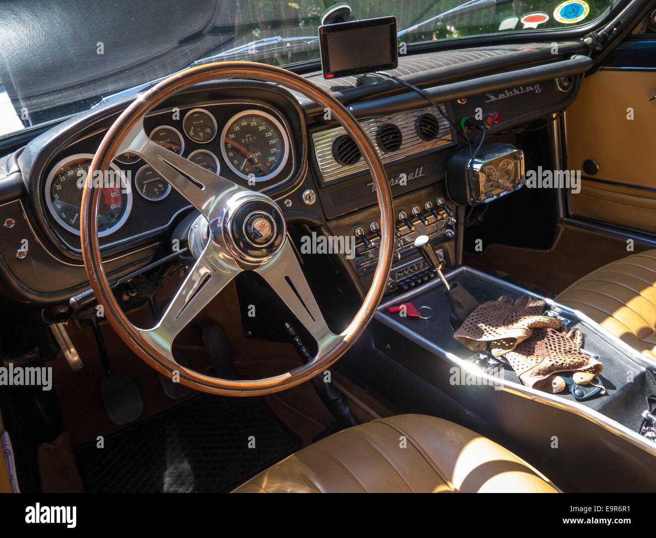 interior of a classic maserati sebring sports car with driving gloves stock photo royalty free. Black Bedroom Furniture Sets. Home Design Ideas