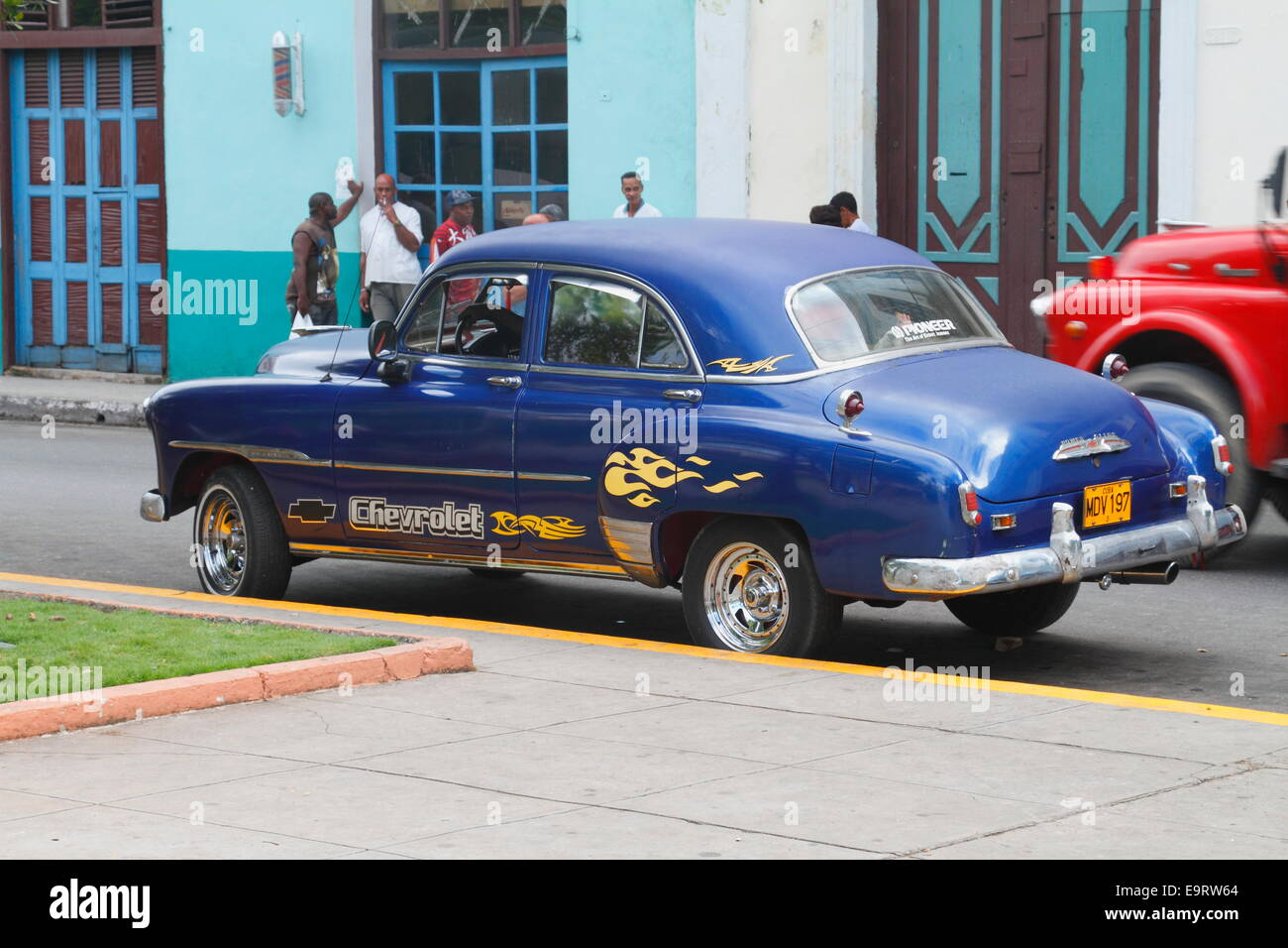 Dark blue color old classic American cars on the street Matanzas ...