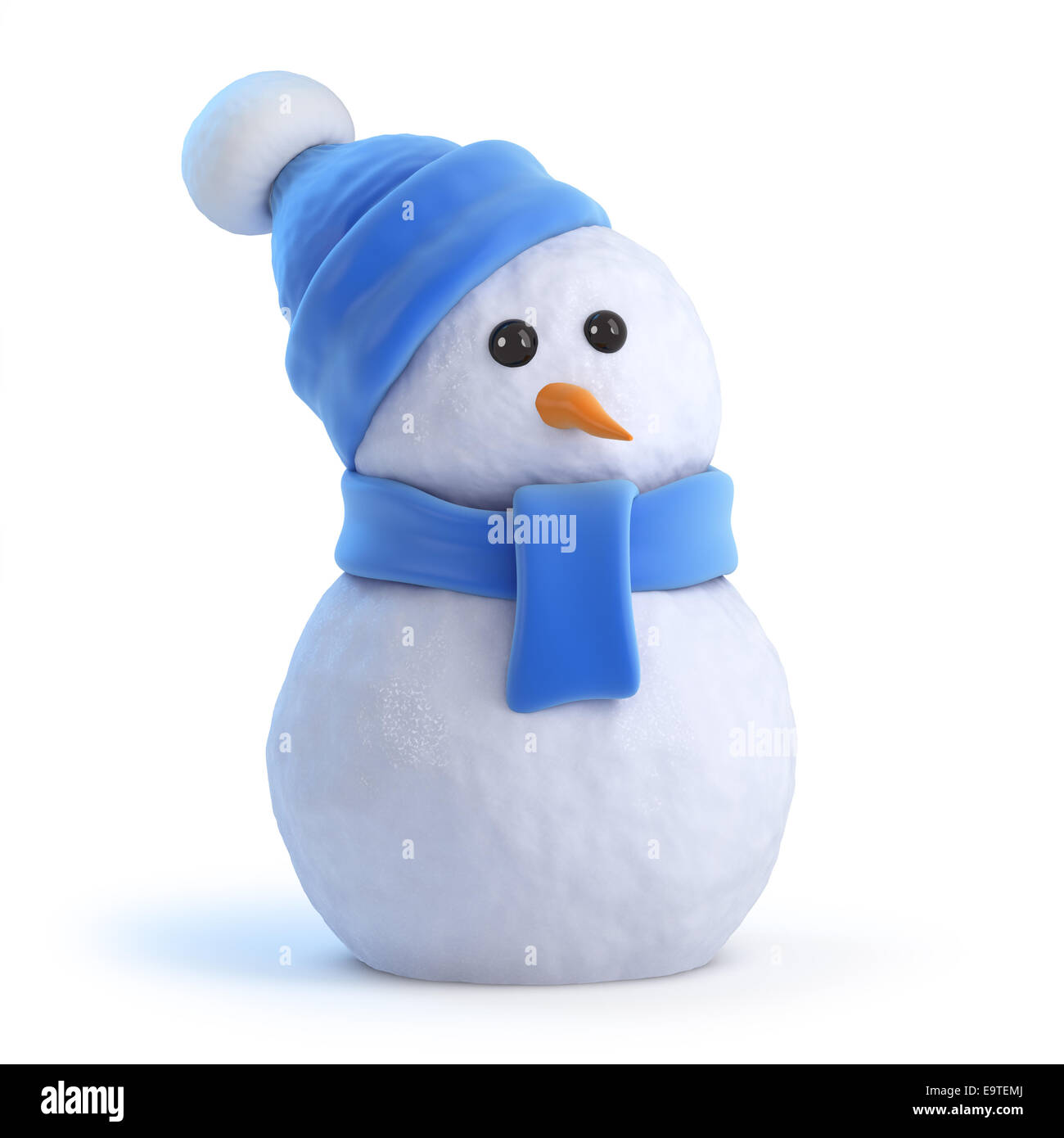 3d render of a snowman wearing a blue woolen hat and scarf stock