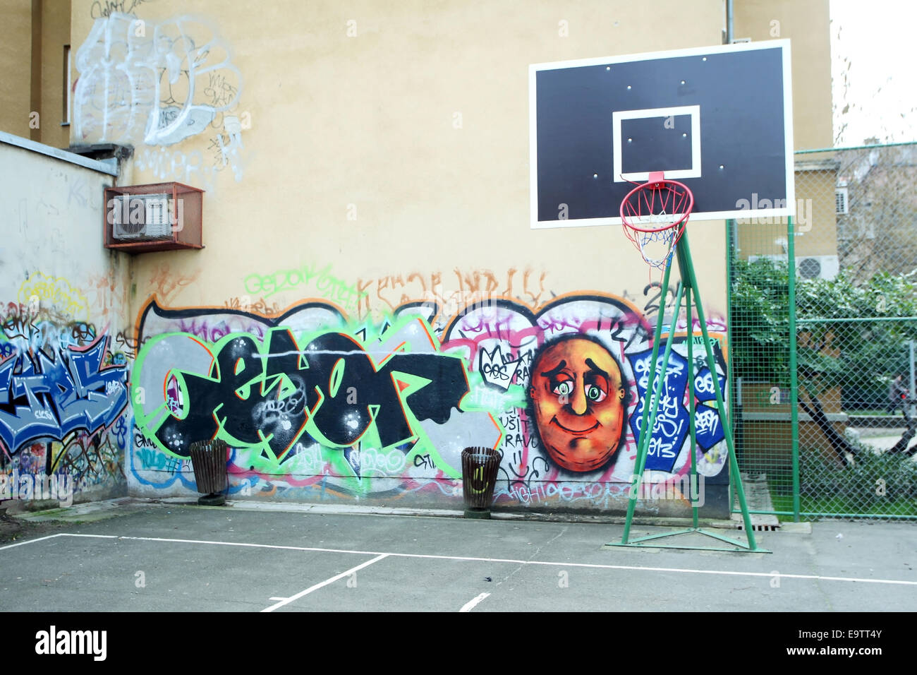 Graffiti wall zagreb - Zagreb Croatia February 24 Basketball Yard With Basketball Hoop And Graffiti Walls On