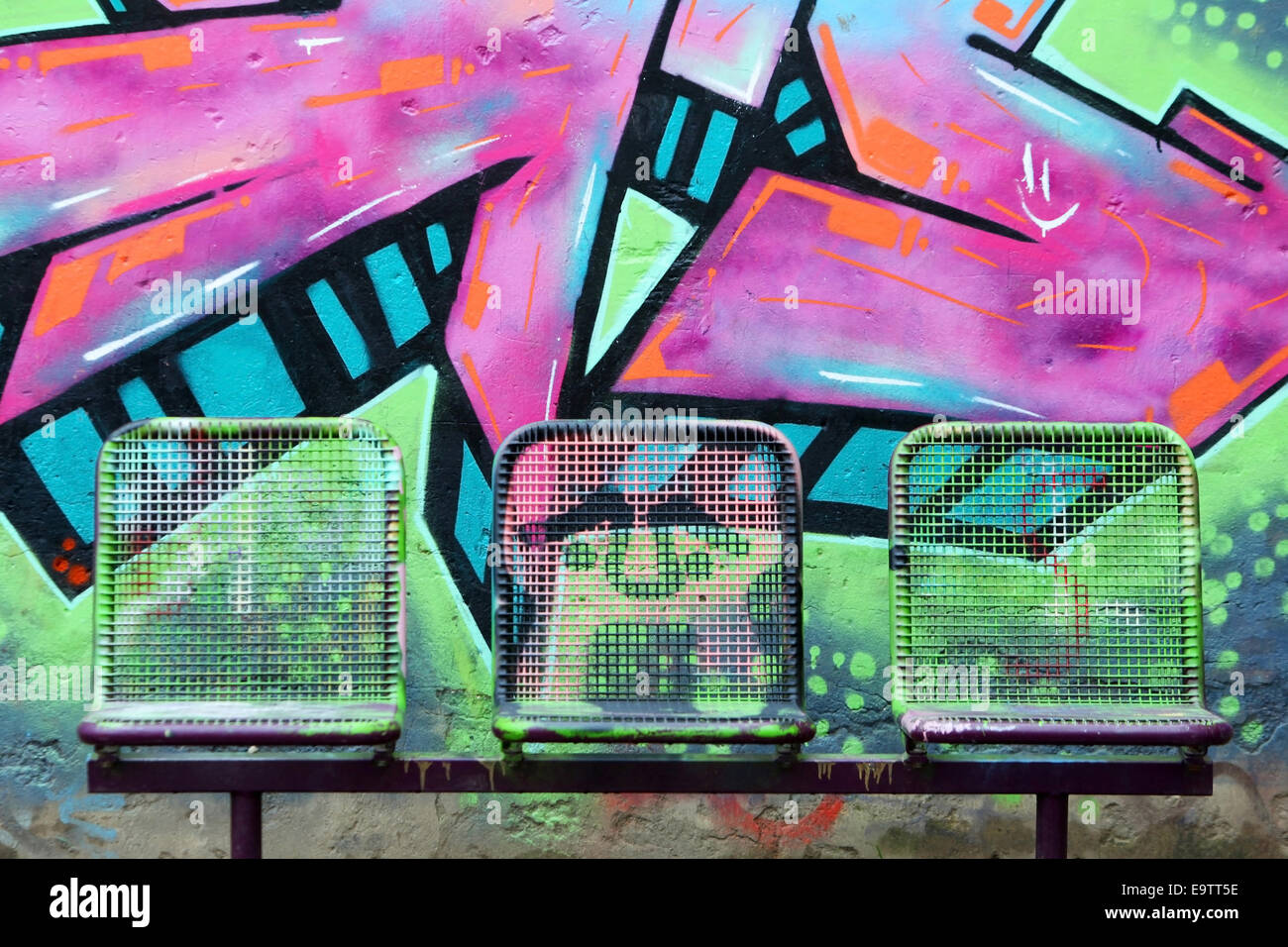 Graffiti wall zagreb - Stock Photo Three Painted Street Chairs In Front Of Graffiti Wall On A Schoolyard