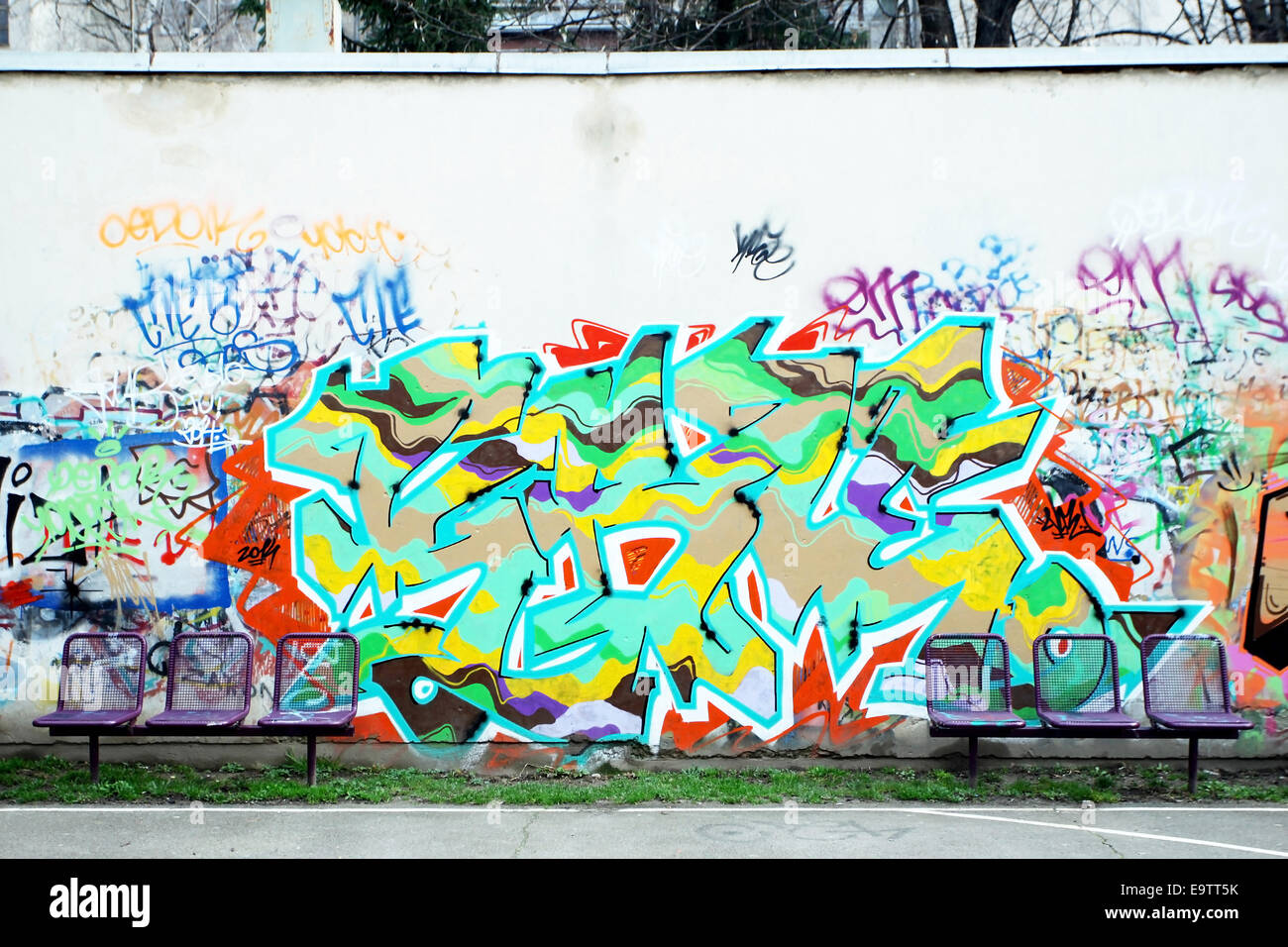 Graffiti wall zagreb - Stock Photo Zagreb Croatia February 24 A Colorful Graffiti On The Wall Of Schoolyard On February 24th 2014 In Zagreb Croatia
