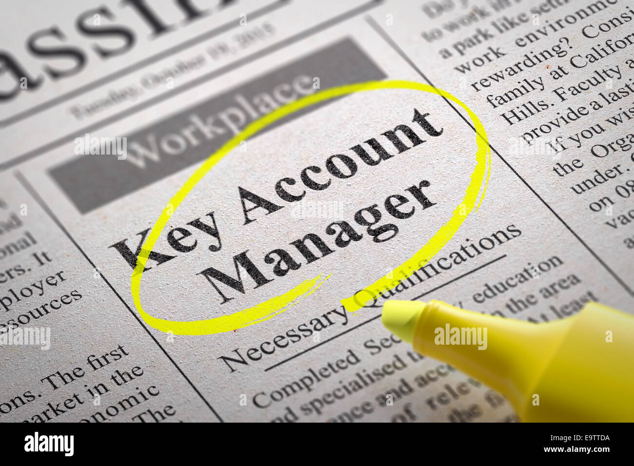 Key Account Manager Vacancy in Newspaper. Job Search Concept Stock ...