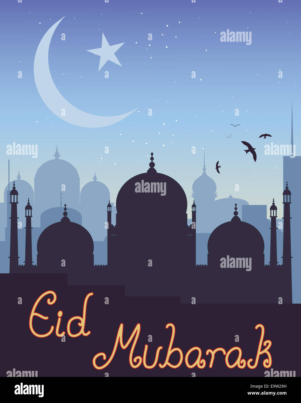 Illustration of islamic skyline with mosque star and crescent illustration of islamic skyline with mosque star and crescent moon symbol on a greeting card for the festival of eid mubarak biocorpaavc Gallery