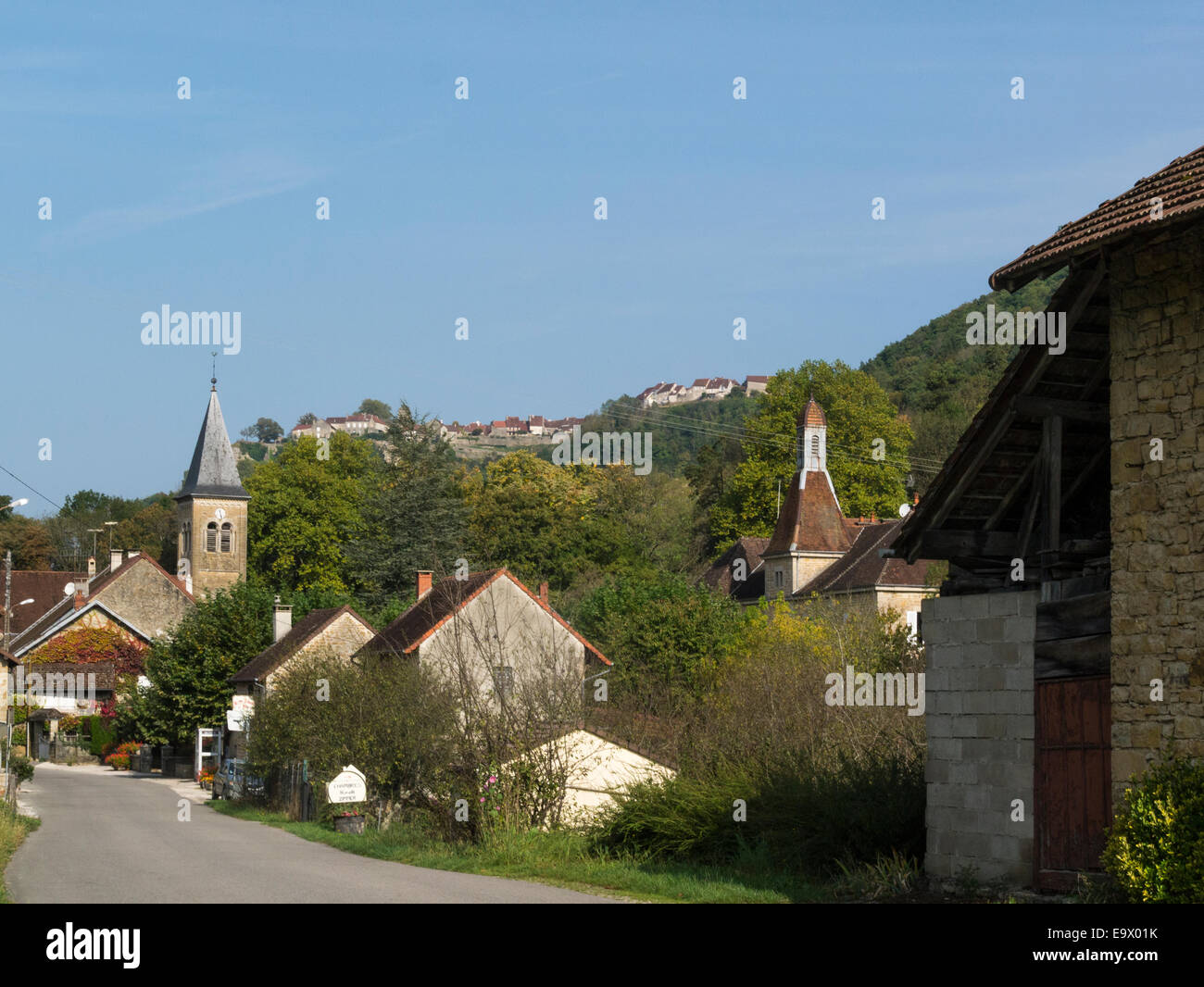 view small quiet village nevy sur seille wine producing area jura stock photo royalty free. Black Bedroom Furniture Sets. Home Design Ideas