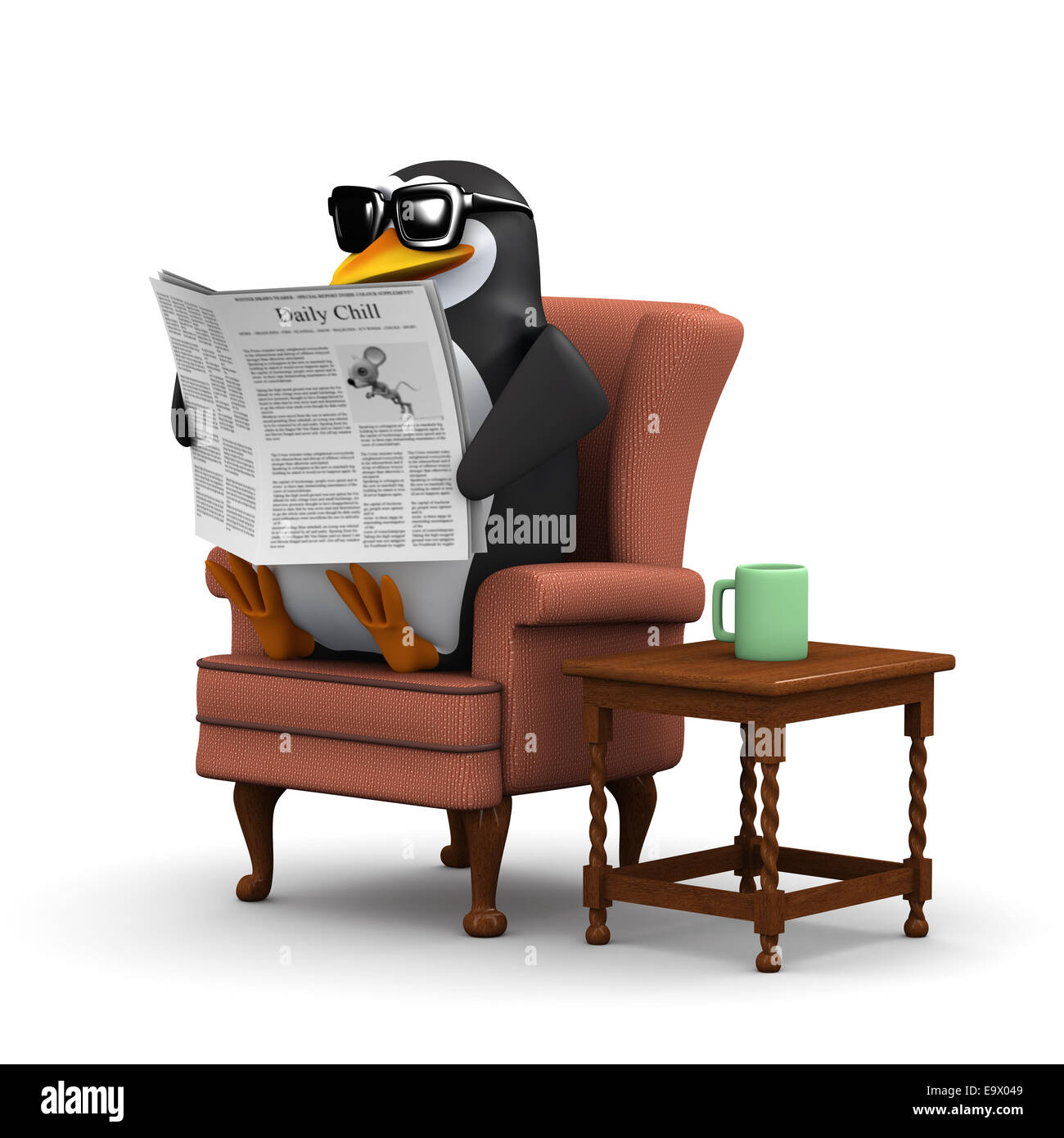 3d Render Of A Penguin Sitting In A Comfortable Chair