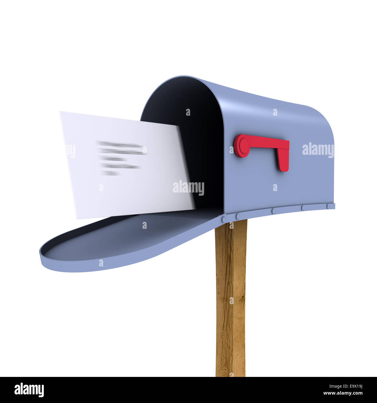 open mailbox. 3d Render Of An Open Mailbox With Envelope Flying In
