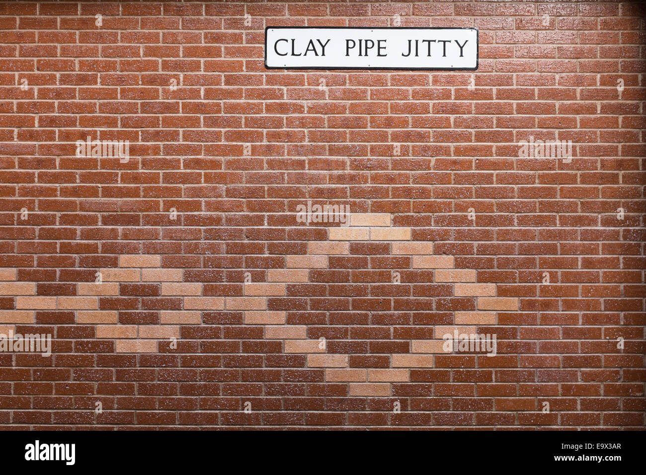 Brick Wall With Decorative Brick Patterned Inserts And A Strange Street  Name Sign U0027clay Pipe Jittyu0027.