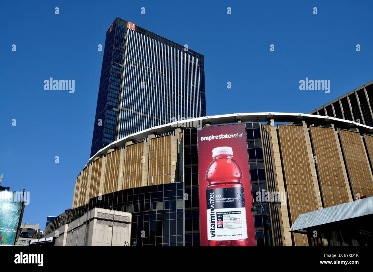 nyc madison square garden and 1 penn plaza office tower on eighth stock photo royalty free