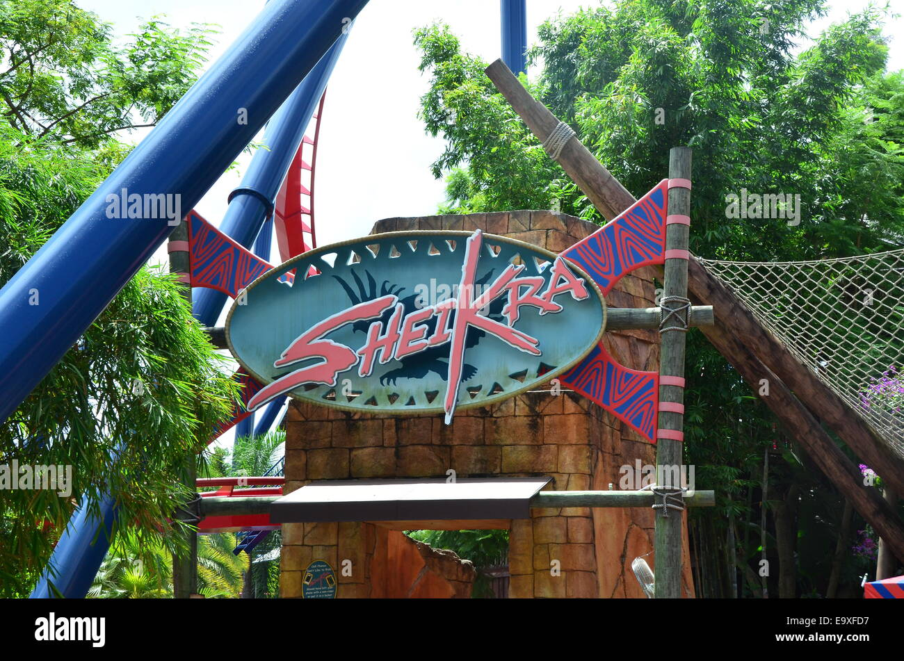 SheiKra Roller Coaster Ride At Busch Gardens, Tampa, Florida, USA