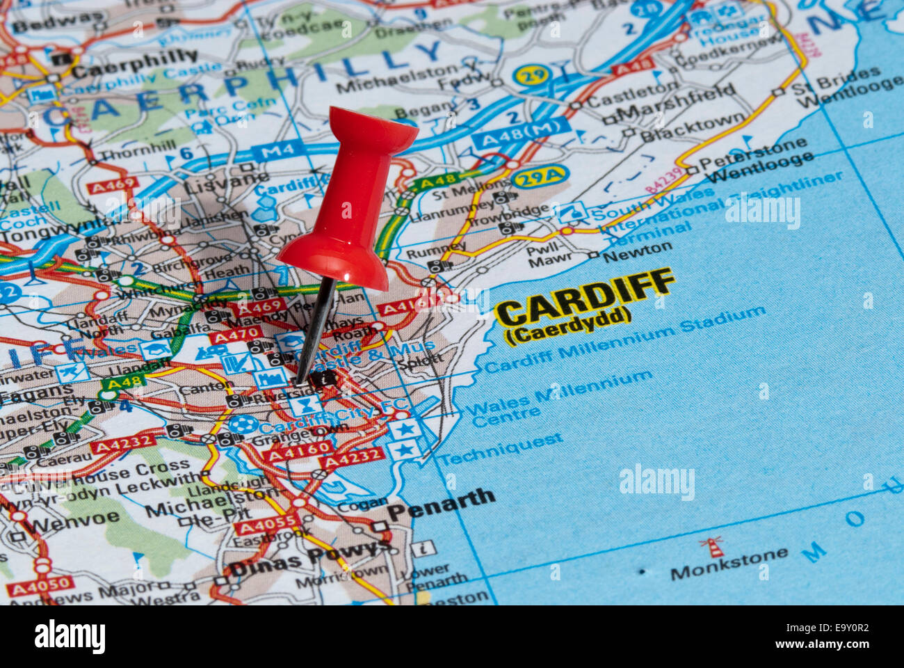 red map pin in road map pointing to city of Cardiff Stock Photo