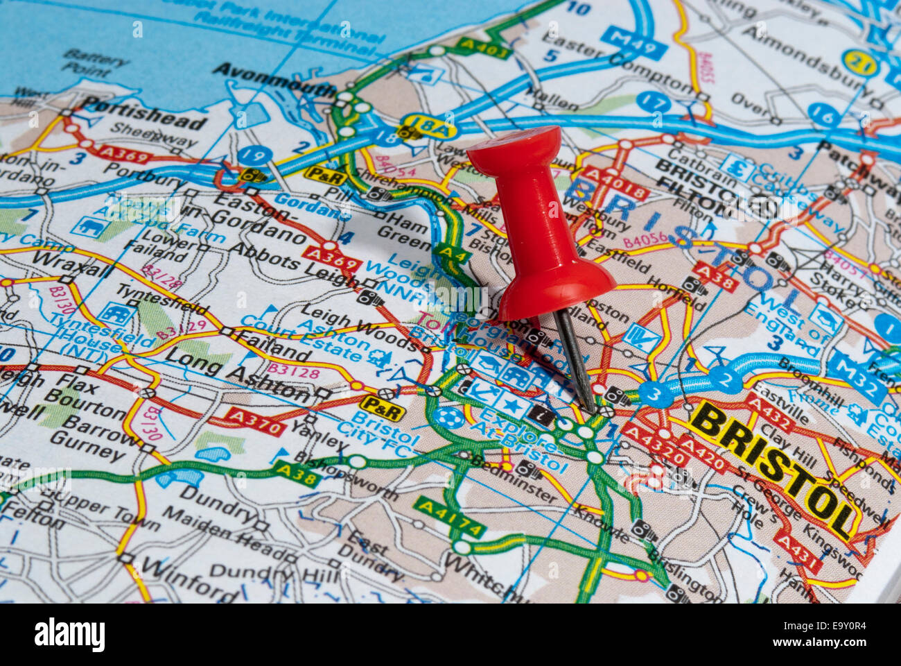 red map pin in road map pointing to city of Bristol Stock Photo