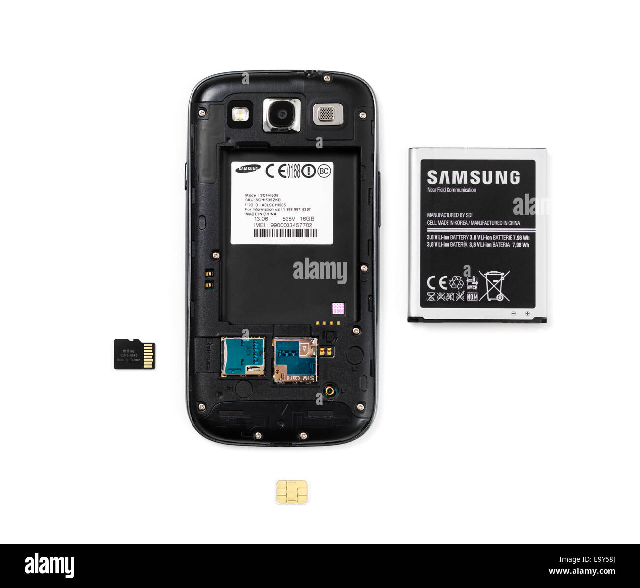 Camera Sim Card For Android Phones samsung android phone without the rear cover and removed battery memory sim card isolated on white background
