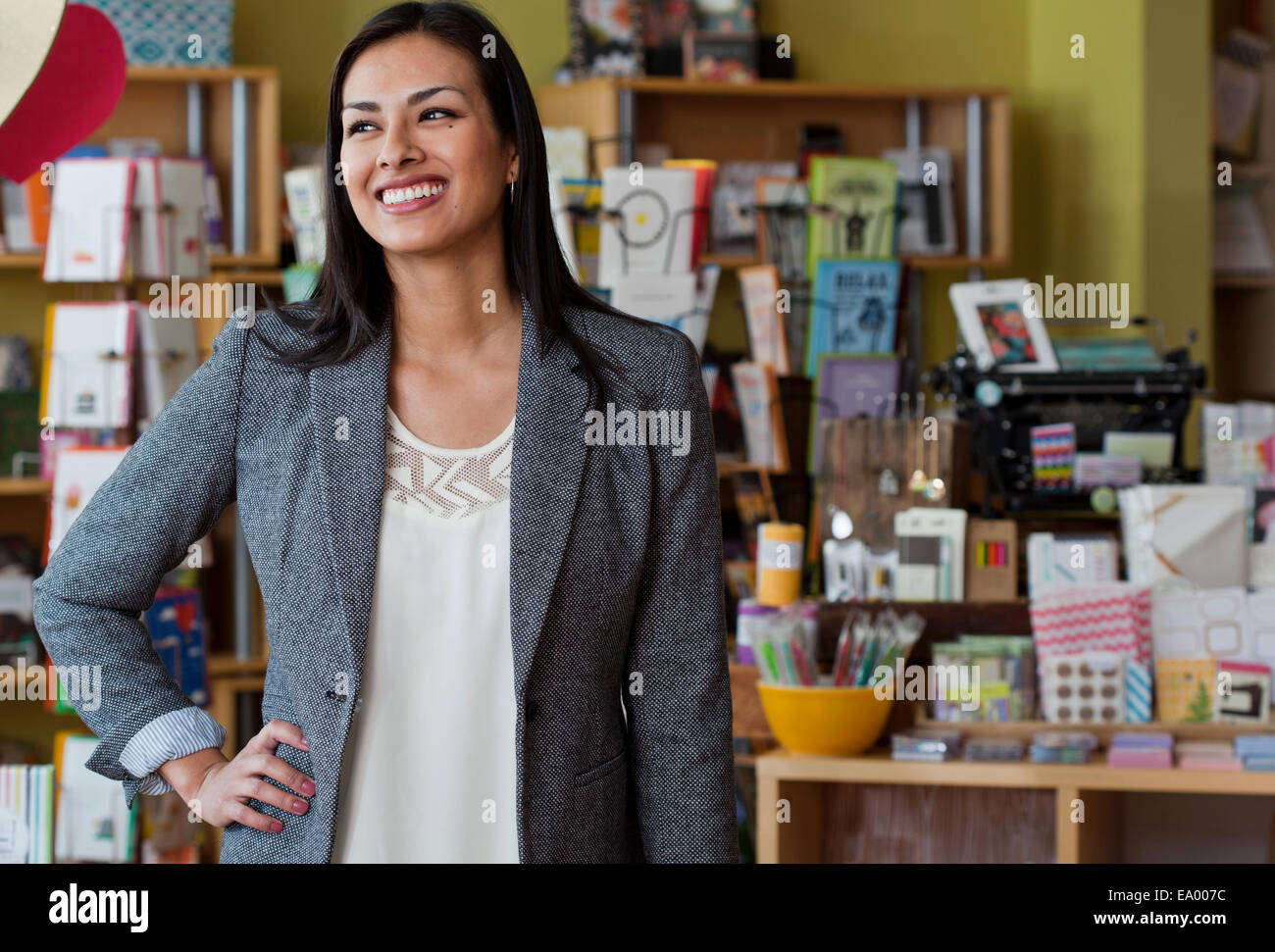 portrait of female s assistant in stationery shop stock photo portrait of female s assistant in stationery shop