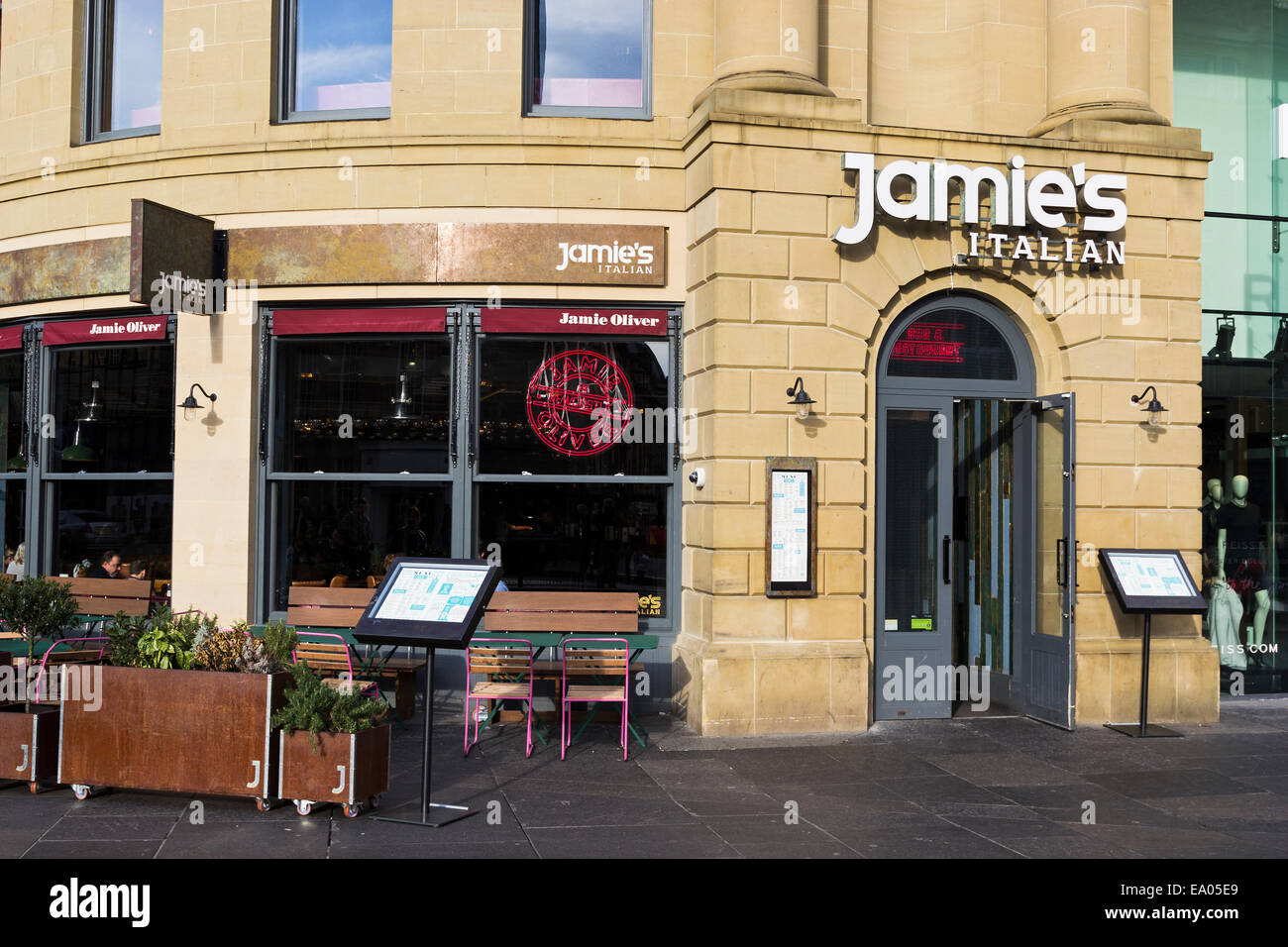 jamie oliver italian restaurant at newcastle upon tyne showing stock photo royalty free image. Black Bedroom Furniture Sets. Home Design Ideas