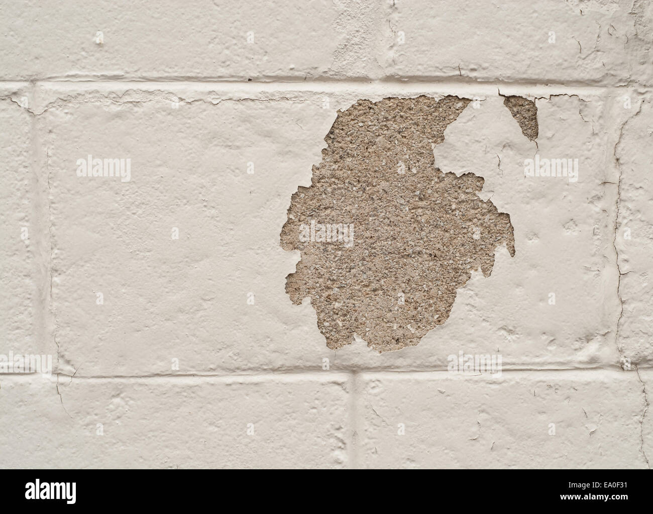 Painted cinder block wall texture - Stock Photo White Painted Cinder Block Wall With A Patch Of Missing Paint