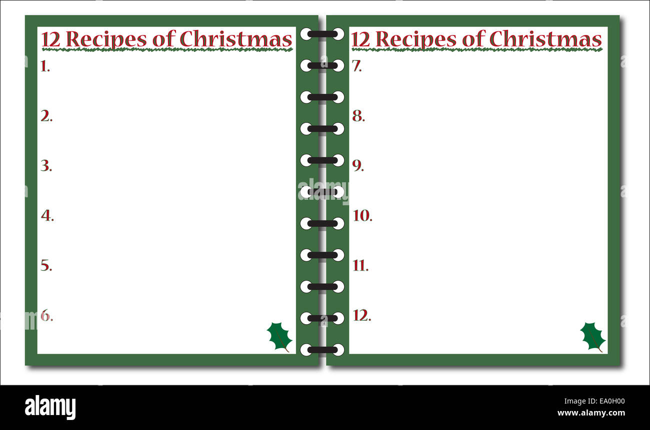 A 12 Recipes Of Christmas Notepad Template Or Background Isolated – Notepad Template Word