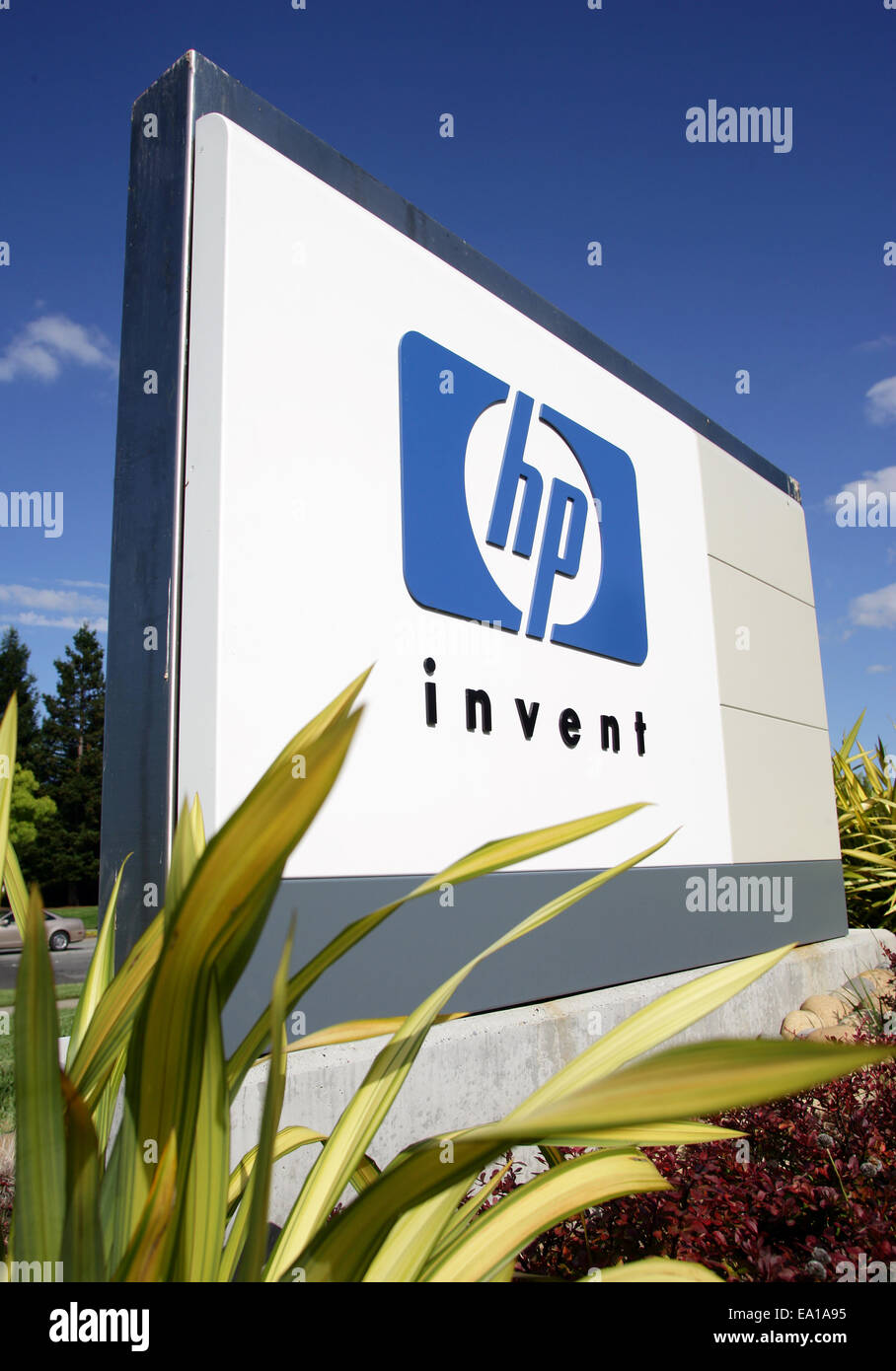 Company sign of hp hewlett packard in front of headquarters in company sign of hp hewlett packard in front of headquarters in palo alto silicon valley california usa biocorpaavc