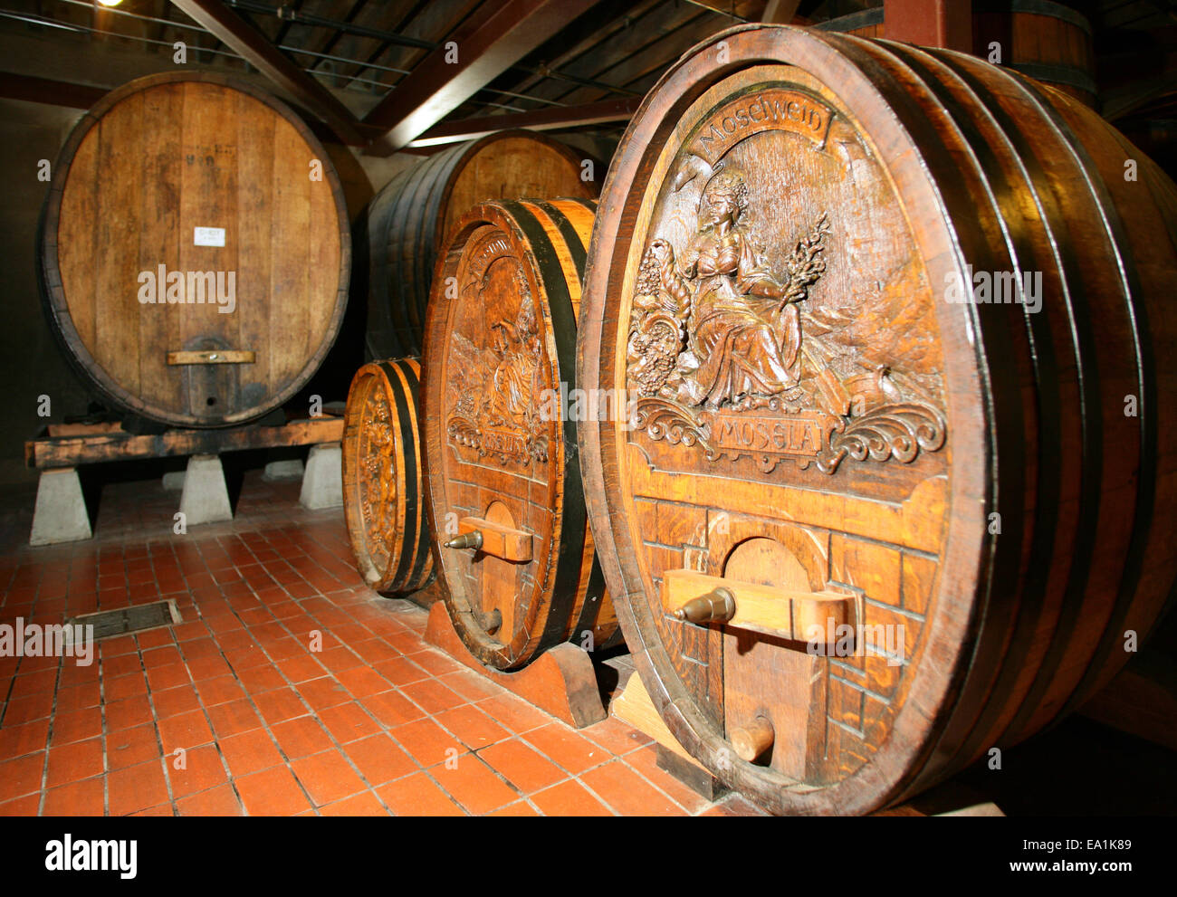oak wine barrels. napa county historic oak wine barrels in beringer winery of valley california ca