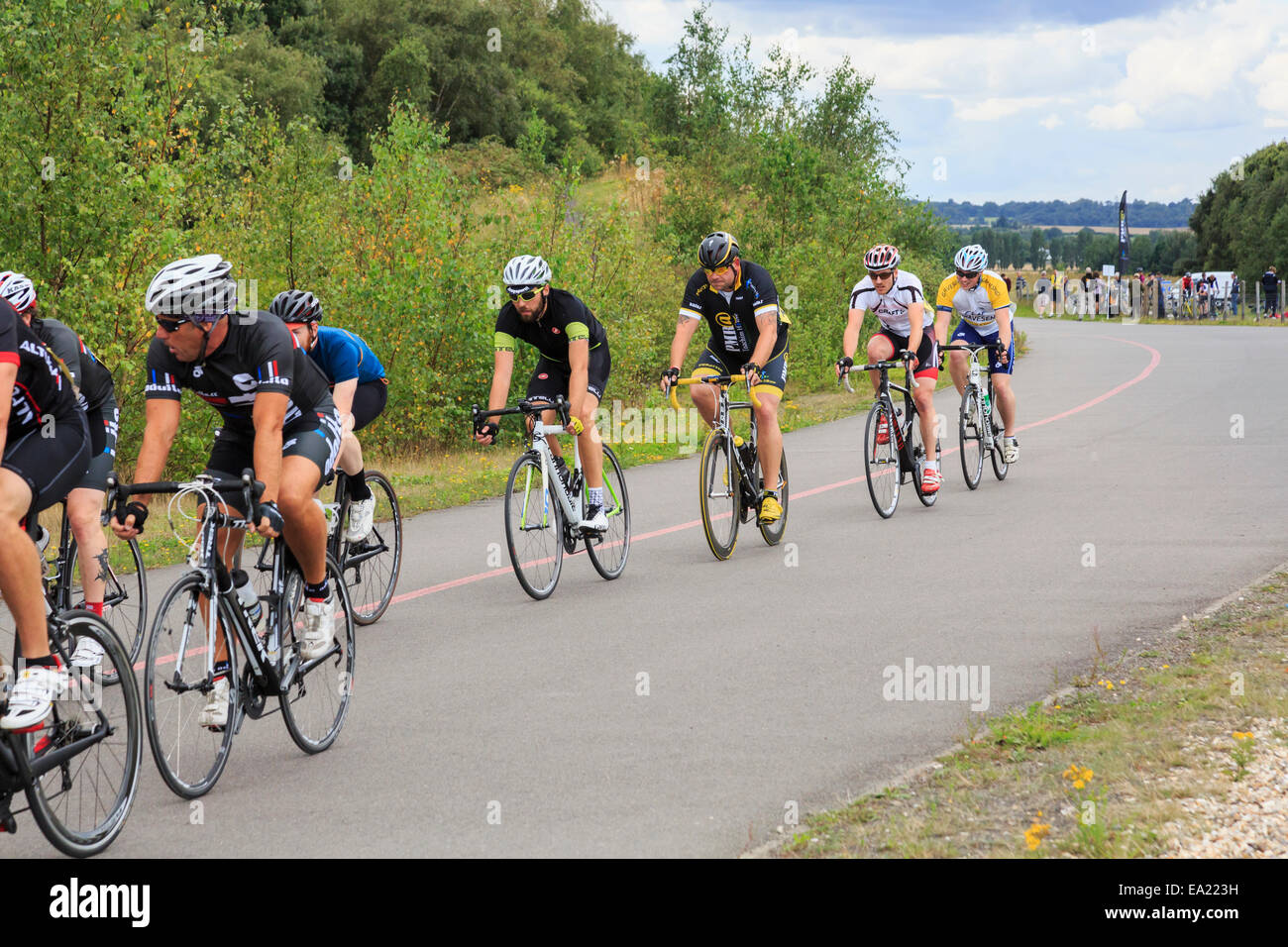 Men Racing In A Bike Race Organised By British Cycling At Fowlmead