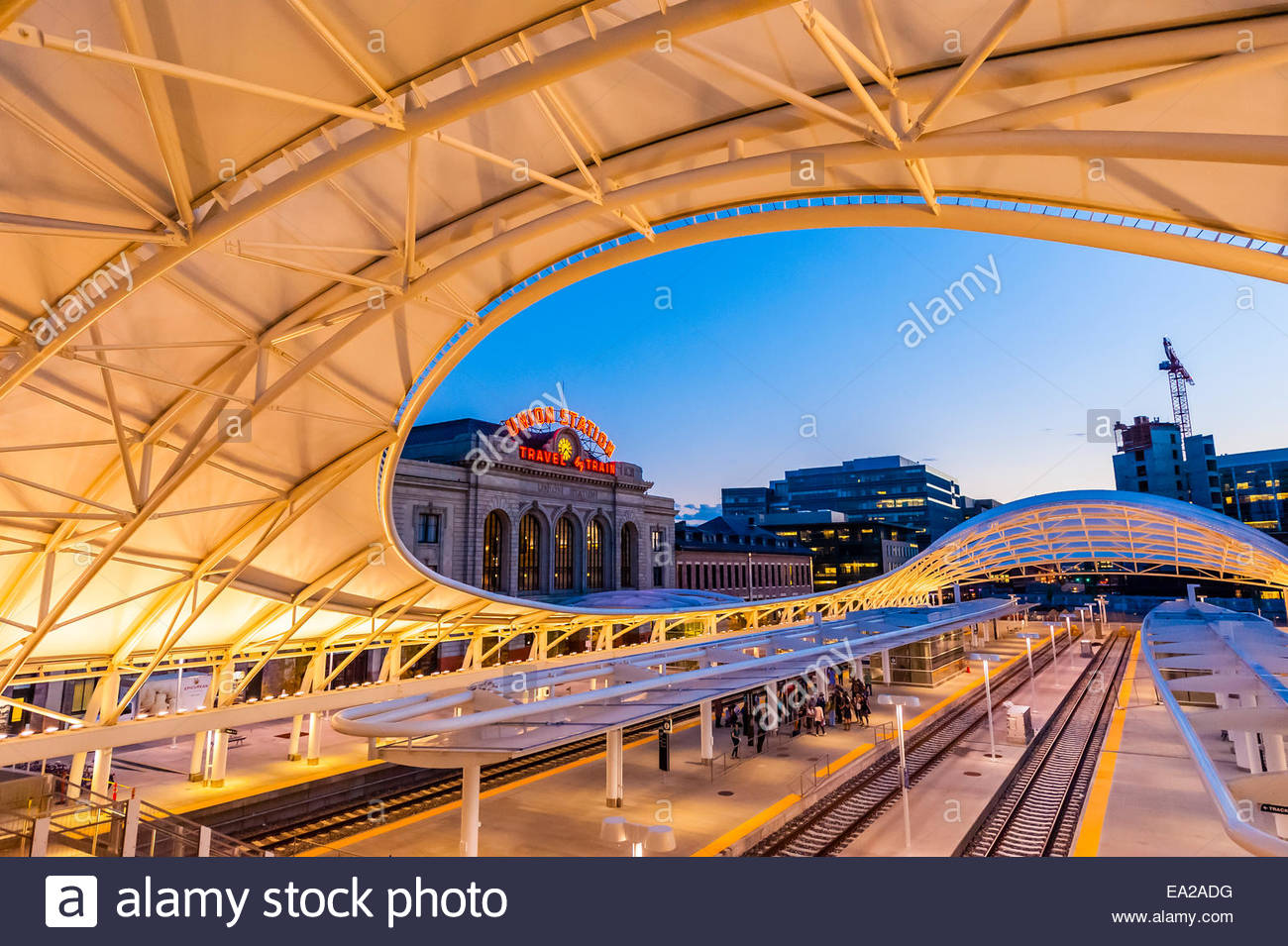 The train hall canopy at the newly renovated Denver Union Station Downtown Denver Colorado USA & The train hall canopy at the newly renovated Denver Union Station ...