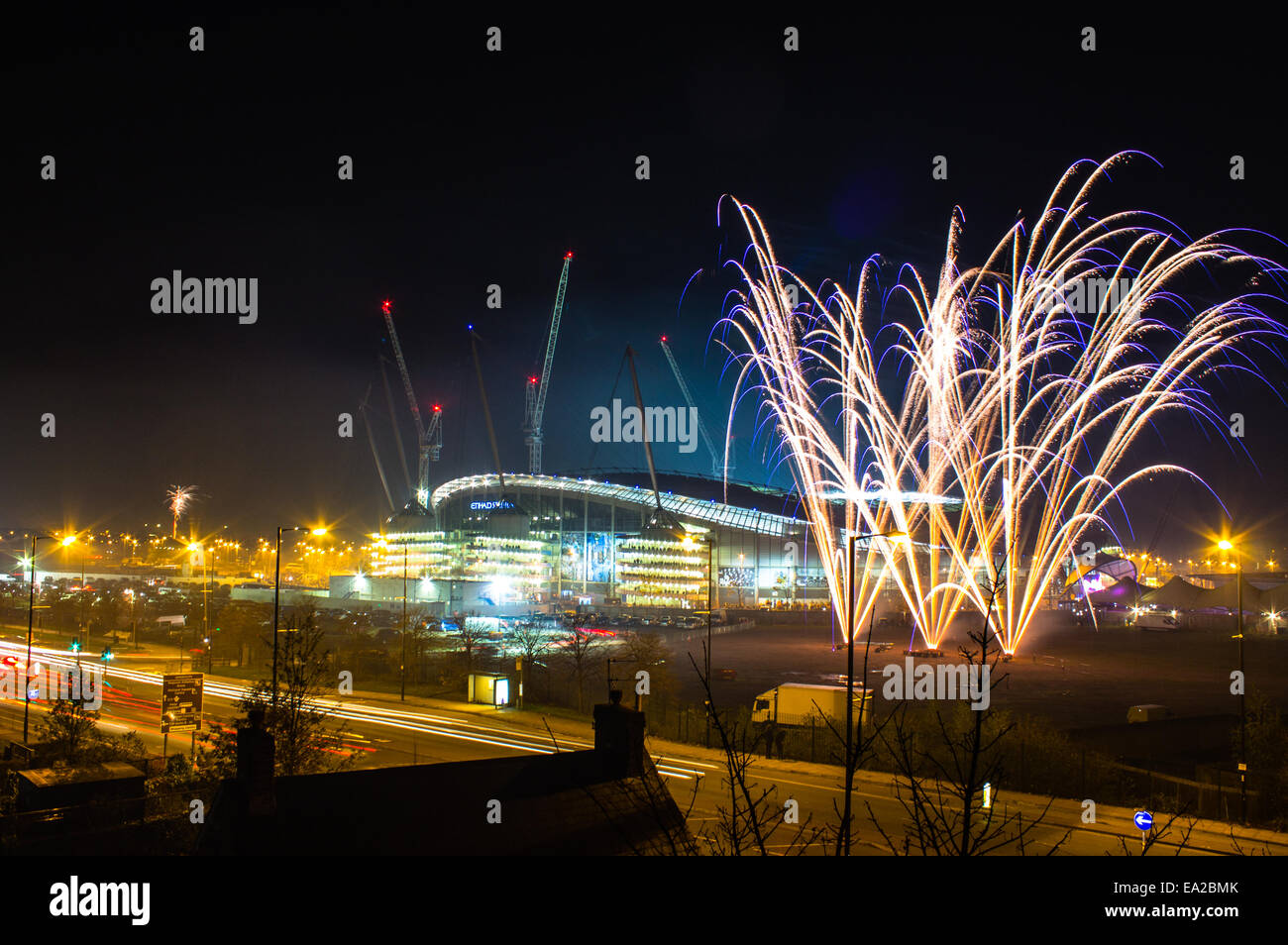Stock Photo - Etihad Stadium and fireworks before Bonfire Night    Etihad Stadium At Night